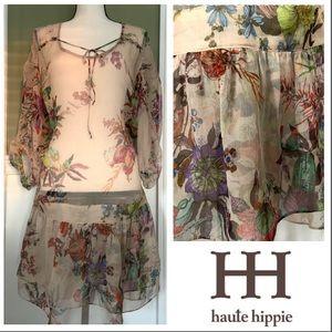 Haute Hippie Silk Boho Tunic Dress